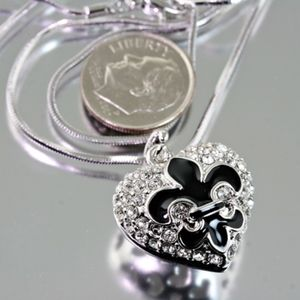 Jewelry - Fleur De Lis Heart Pendant Rhinestone Necklace